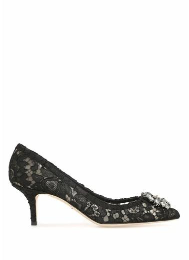 Dolce&Gabbana Kısa Topuklu Dantel Ayakkabı Siyah